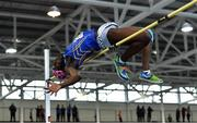 25 January 2020; Nelvin Appiah of Longford A.C., Co. Longford, competing in the Junior Men's High Jump during the Irish Life Health National Indoor Junior and U23 Championships at the AIT Indoor Arena in Athlone, Westmeath. Photo by Sam Barnes/Sportsfile