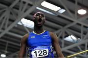 25 January 2020; Nelvin Appiah of Longford A.C., Co. Longford, celebrates a clearance whilst competing in the Junior Men's High Jump during the Irish Life Health National Indoor Junior and U23 Championships at the AIT Indoor Arena in Athlone, Westmeath. Photo by Sam Barnes/Sportsfile