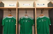 25 January 2020; The jerseys of Mike Casey, Richie English and Diarmaid Byrnes hang in the Limerick dressing room prior to the Allianz Hurling League Division 1 Group A Round 1 match between Tipperary and Limerick at Semple Stadium in Thurles, Tipperary. Photo by Diarmuid Greene/Sportsfile