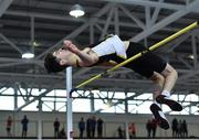 25 January 2020; Geoffrey Joy O'Regan of Sun Hill Harriers A.C., Co. Limerick, competing in the Junior Men's High Jump during the Irish Life Health National Indoor Junior and U23 Championships at the AIT Indoor Arena in Athlone, Westmeath. Photo by Sam Barnes/Sportsfile