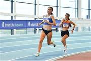 25 January 2020; Ava O Connor of Tullamore Harriers A.C., Co. Offaly, left, on her way to winning the Junior  Women's 800m, ahead of Ailbhe O Neill of Nenagh Olympic A.C., Co. Tipperary, during the Irish Life Health National Indoor Junior and U23 Championships at the AIT Indoor Arena in Athlone, Westmeath. Photo by Sam Barnes/Sportsfile