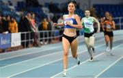 25 January 2020; Ava O Connor of Tullamore Harriers A.C., Co. Offaly, on her way to winning the Junior Women's 800m during the Irish Life Health National Indoor Junior and U23 Championships at the AIT Indoor Arena in Athlone, Westmeath. Photo by Sam Barnes/Sportsfile