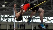 25 January 2020; Ciaran Connolly of Le Chéile A.C., Co. Kildare, competing in the U23 Men's High Jump during the Irish Life Health National Indoor Junior and U23 Championships at the AIT Indoor Arena in Athlone, Westmeath. Photo by Sam Barnes/Sportsfile