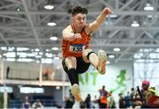 25 January 2020; Sean Carolan of Nenagh Olympic A.C., Co. Tipperary, competing in the Junior Men's Long Jump during the Irish Life Health National Indoor Junior and U23 Championships at the AIT Indoor Arena in Athlone, Westmeath. Photo by Sam Barnes/Sportsfile