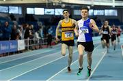 25 January 2020; James Dunne of Tullamore Harriers A.C., Offaly, right, on his way to winning the Junior Men's 800m, ahead of Tommy Connolly of Leevale A.C., Cork, during the Irish Life Health National Indoor Junior and U23 Championships at the AIT Indoor Arena in Athlone, Westmeath. Photo by Sam Barnes/Sportsfile