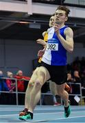 25 January 2020; James Dunne of Tullamore Harriers A.C., Offaly, on his way to winning the Junior Men's 800m during the Irish Life Health National Indoor Junior and U23 Championships at the AIT Indoor Arena in Athlone, Westmeath. Photo by Sam Barnes/Sportsfile
