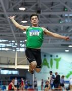 25 January 2020; Adam Dooley of Templemore A.C., Co. Tipperary, competing in the U23 Men's Long Jump during the Irish Life Health National Indoor Junior and U23 Championships at the AIT Indoor Arena in Athlone, Westmeath. Photo by Sam Barnes/Sportsfile