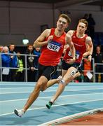 25 January 2020; Cathal Locke of Dooneen A.C., Limerick, competiting in the U23 Men's 400m during the Irish Life Health National Indoor Junior and U23 Championships at the AIT Indoor Arena in Athlone, Westmeath. Photo by Sam Barnes/Sportsfile