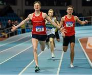 25 January 2020; Cathal Crosbie of Ennis Track A.C., Clare, left, celebrates winning the U23 Men's 400m, ahead of Cathal Locke of Dooneen A.C., Limerick, during the Irish Life Health National Indoor Junior and U23 Championships at the AIT Indoor Arena in Athlone, Westmeath. Photo by Sam Barnes/Sportsfile