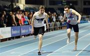 25 January 2020; Jack Raftery of Donore Harriers, Dublin, left, reacts as he crosses the line to win the Junior Men's 400m ahead of Ciaran Carthy of Dundrum South Dublin A.C. during the Irish Life Health National Indoor Junior and U23 Championships at the AIT Indoor Arena in Athlone, Westmeath. Photo by Sam Barnes/Sportsfile