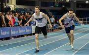 25 January 2020; Jack Raftery of Donore Harriers, Co. Dublin, left, dips for the line to win the Junior Men's 400m ahead of Ciaran Carthy of Dundrum South Dublin A.C. during the Irish Life Health National Indoor Junior and U23 Championships at the AIT Indoor Arena in Athlone, Westmeath. Photo by Sam Barnes/Sportsfile