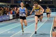 25 January 2020; Rachel McCann of North Down A.C., right, dips for the line to win the Junior Women's 400m, ahead of Simone Lalor of St. Laurence O'Toole A.C., Carlow, during the Irish Life Health National Indoor Junior and U23 Championships at the AIT Indoor Arena in Athlone, Westmeath. Photo by Sam Barnes/Sportsfile