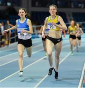 25 January 2020; Rachel McCann of North Down A.C., right,on her way to winning the Junior Women's 400m, ahead of Simone Lalor of St. Laurence O'Toole A.C., Carlow, during the Irish Life Health National Indoor Junior and U23 Championships at the AIT Indoor Arena in Athlone, Westmeath. Photo by Sam Barnes/Sportsfile