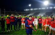 25 January 2020; Cork manager Ephie Fitzgerald addresses his players following the 2020 Lidl Ladies National Football League Division 1 Round 1 match between Cork and Westmeath at Páirc Ui Chaoimh in Cork. Photo by David Fitzgerald/Sportsfile