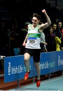 25 January 2020; Mark Smyth of Raheny Shamrock A.C., Dublin, celebrates winning the U23 Men's 200m during the Irish Life Health National Indoor Junior and U23 Championships at the AIT Indoor Arena in Athlone, Westmeath. Photo by Sam Barnes/Sportsfile