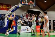25 January 2020; Kevin Donohoe of IT Carlow celebrates scoring his side's last second equalizing basket to bring the game to bring the game to overtime during the Hula Hoops President's National Cup Final between IT Carlow Basketball and Tradehouse Central Ballincollig at the National Basketball Arena in Tallaght, Dublin. Photo by Brendan Moran/Sportsfile