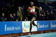 25 January 2020; Rhasidat Adeleke of Tallaght A.C., Dublin, on her way to winning the Junior Women's 200m during the Irish Life Health National Indoor Junior and U23 Championships at the AIT Indoor Arena in Athlone, Westmeath. Photo by Sam Barnes/Sportsfile