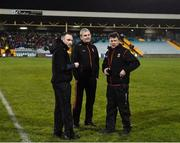 25 January 2020; Mayo Manager James Horan, centre, along with Mayo Strength and Conditioning coach Conor Finn, left, and Mayo Statistics Analyst Joe Doyle before the Allianz Football League Division 1 Round 1 match between Donegal and Mayo at MacCumhaill Park in Ballybofey, Donegal. Photo by Oliver McVeigh/Sportsfile