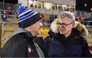 25 January 2020; Eir Sport pundit Joe Brolly, right, talking to Aidan O'Rourke before the Allianz Football League Division 1 Round 1 match between Donegal and Mayo at MacCumhaill Park in Ballybofey, Donegal. Photo by Oliver McVeigh/Sportsfile