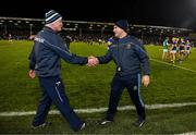 25 January 2020; Limerick manager John Kiely and Tipperary manager Liam Sheedy exchange a handshake after the Allianz Hurling League Division 1 Group A Round 1 match between Tipperary and Limerick at Semple Stadium in Thurles, Tipperary. Photo by Diarmuid Greene/Sportsfile