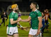 25 January 2020; Richie English and Dan Morrissey of Limerick celebrate after the Allianz Hurling League Division 1 Group A Round 1 match between Tipperary and Limerick at Semple Stadium in Thurles, Tipperary. Photo by Diarmuid Greene/Sportsfile
