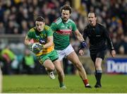25 January 2020; Eoin McHugh of Donegal in action against Tom Parsons of Mayo during the Allianz Football League Division 1 Round 1 match between Donegal and Mayo at MacCumhaill Park in Ballybofey, Donegal. Photo by Oliver McVeigh/Sportsfile