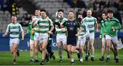 25 January 2020; The Oughterard team, lead by goalkeeper Jordan Waller, perform a lap-of-honour with the cup, following the AIB GAA Football All-Ireland Intermediate Club Championship Final match between Magheracloone and Oughterard at Croke Park in Dublin. Photo by Ben McShane/Sportsfile