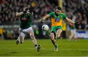 25 January 2020; Eoin McHugh of Donegal in action against Patrick Durcan of Mayo during the Allianz Football League Division 1 Round 1 match between Donegal and Mayo at MacCumhaill Park in Ballybofey, Donegal. Photo by Oliver McVeigh/Sportsfile