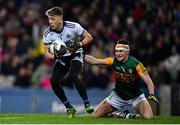 25 January 2020; Evan Comerford of Dublin in action against Seán O'Shea of Kerry during the Allianz Football League Division 1 Round 1 match between Dublin and Kerry at Croke Park in Dublin. Photo by Ben McShane/Sportsfile