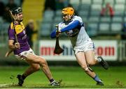 25 January 2020; Enda Rowland of Laois in action against Jack O'Connor of Wexford during the Allianz Hurling League Division 1 Group B Round 1 match between Laois and Wexford at MW Hire O'Moore Park in Portlaoise, Co Laois. Photo by Michael P Ryan/Sportsfile