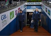25 January 2020; Dublin manager Dessie Farrell, left, and Sean Murphy prior to the Allianz Football League Division 1 Round 1 match between Dublin and Kerry at Croke Park in Dublin. Photo by Ramsey Cardy/Sportsfile