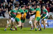 25 January 2020; Stephen Coen of Mayo in action against Conor O'Donnell, Paul Brennan and Odhran McFadden Ferry of Donegal during the Allianz Football League Division 1 Round 1 match between Donegal and Mayo at MacCumhaill Park in Ballybofey, Donegal. Photo by Oliver McVeigh/Sportsfile