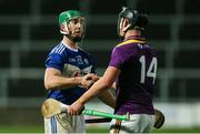 25 January 2020; Ross King of Laois with Conor McDonald of Wexford following the Allianz Hurling League Division 1 Group B Round 1 match between Laois and Wexford at MW Hire O'Moore Park in Portlaoise, Co Laois. Photo by Michael P Ryan/Sportsfile