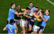 25 January 2020; Players from both sides jostle each other after the final whistle had blown at the Allianz Football League Division 1 Round 1 match between Dublin and Kerry at Croke Park in Dublin. Photo by Ray McManus/Sportsfile