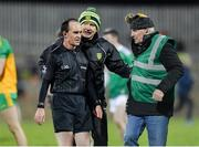 25 January 2020; Donegal Manager Declan Bonner tries to speak with Referee David Coldrick, after the final whistle, as a steward tries to escort him off the field, after the Allianz Football League Division 1 Round 1 match between Donegal and Mayo at MacCumhaill Park in Ballybofey, Donegal. Photo by Oliver McVeigh/Sportsfile