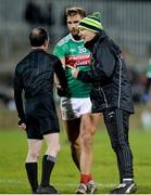 25 January 2020; Donegal Manager Declan Bonner trying to speak to Referee David Coldrick, as he shakes hands with Aidan O'Shea of Mayo, after the final whistle in the Allianz Football League Division 1 Round 1 match between Donegal and Mayo at MacCumhaill Park in Ballybofey, Donegal. Photo by Oliver McVeigh/Sportsfile