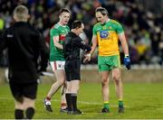 25 January 2020; Michael Murphy of Donegal speaking to Referee David Coldrick after the final whistle, as Stephen Coen of Mayo stands by, following the Allianz Football League Division 1 Round 1 match between Donegal and Mayo at MacCumhaill Park in Ballybofey, Donegal. Photo by Oliver McVeigh/Sportsfile