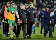 25 January 2020; A disappointed Donegal Manager Declan Bonner, right, and Stephen Rochford selector, left, leave the field after the Allianz Football League Division 1 Round 1 match between Donegal and Mayo at MacCumhaill Park in Ballybofey, Donegal. Photo by Oliver McVeigh/Sportsfile