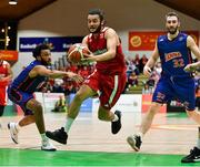 25 January 2020; Neil Randolph of Griffith College Templeogue in action against Joshua Wilson, left, and Mark Reynolds of DBS Eanna during the Hula Hoops Pat Duffy National Cup Final between DBS Éanna and Griffith College Templeogue at the National Basketball Arena in Tallaght, Dublin. Photo by Brendan Moran/Sportsfile