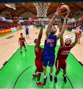 25 January 2020; Mark Reynolds of DBS Eanna in action against Darren Townes and Neil Randolph of Griffith College Templeogue during the Hula Hoops Pat Duffy National Cup Final between DBS Éanna and Griffith College Templeogue at the National Basketball Arena in Tallaght, Dublin. Photo by Brendan Moran/Sportsfile