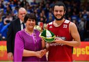 25 January 2020; Neil Randolph of Griffith College Templeogue is presented with his international cap by Basketball Ireland President Theresa Walsh after the Hula Hoops Pat Duffy National Cup Final between DBS Éanna and Griffith College Templeogue at the National Basketball Arena in Tallaght, Dublin. Photo by Brendan Moran/Sportsfile