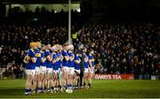 25 January 2020; Tipperary players stand with their hands on their hearts during the playing of the national anthem to highlight the call for health equality for the people of the south-east. The 'Hand on Heart' campaign highlights the present lack of 24/7 cardiac care within the south-east region and is calling for the provision of 24-hour cardiac care at University Hospital Waterford. At present, the south-east is the only region in the country that does not have a 24 hour cardiac care service. Allianz Hurling League Division 1 Group A Round 1 match between Tipperary and Limerick at Semple Stadium in Thurles, Tipperary. Photo by Diarmuid Greene/Sportsfile