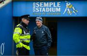 25 January 2020; Limerick manager John Kiely with Garda and GAA referee John McCormack prior to the Allianz Hurling League Division 1 Group A Round 1 match between Tipperary and Limerick at Semple Stadium in Thurles, Tipperary. Photo by Diarmuid Greene/Sportsfile