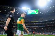 25 January 2020; Kerry captain David Clifford shares a joke with referee Seán Hurson ahead of the Allianz Football League Division 1 Round 1 match between Dublin and Kerry at Croke Park in Dublin. Photo by Ramsey Cardy/Sportsfile