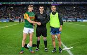 25 January 2020; Referee Seán Hurson with captains David Clifford of Kerry and James McCarthy of Dublin ahead of the Allianz Football League Division 1 Round 1 match between Dublin and Kerry at Croke Park in Dublin. Photo by Ramsey Cardy/Sportsfile