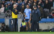 25 January 2020; Dublin manager Dessie Farrell and selector Paul Clarke with captain James McCarthy during the Allianz Football League Division 1 Round 1 match between Dublin and Kerry at Croke Park in Dublin. Photo by Ramsey Cardy/Sportsfile