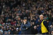 25 January 2020; Dublin manager Dessie Farrell, left, and selector Paul Clarke during the Allianz Football League Division 1 Round 1 match between Dublin and Kerry at Croke Park in Dublin. Photo by Ramsey Cardy/Sportsfile