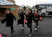 26 January 2020; Tyrone players Michael McKernan, Harry Loughran, Ronan McNamee and Mark Bradley arrive ahead of the Allianz Football League Division 1 Round 1 match between Tyrone and Meath at Healy Park in Omagh, Tyrone. Photo by Oliver McVeigh/Sportsfile