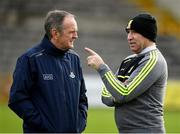 26 January 2020; Dublin manager Mattie Kenny in conversation with Kilkenny selector DJ Carey before the Allianz Hurling League Division 1 Group B Round 1 match between Kilkenny and Dublin at UPMC Nowlan Park in Kilkenny. Photo by Ray McManus/Sportsfile