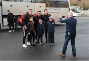 26 January 2020; Edendork GAA Club man Declan O'Connor takes a photograph of young Edendork players Finn and Logan O'Connor and PJ Loughran, with Tyrone players Conn Kilpatrick, Darren McCurry and Niall Morgan, also members of the Edendork GAA Club, before the Allianz Football League Division 1 Round 1 match between Tyrone and Meath at Healy Park in Omagh, Tyrone. Photo by Oliver McVeigh/Sportsfile
